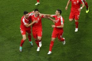 mitrovic tadic and milenkovic serbia celebrate goal