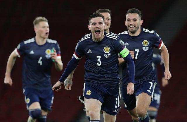 scotland football players celebrate